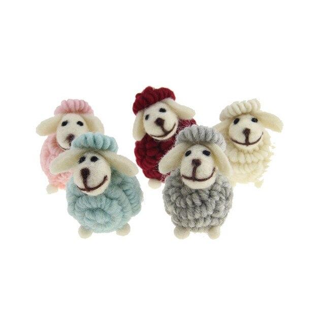 Mini Bonito little lamb Chaveiros Chaveiros cabra pequena Falso Pele De Coelho Pompom Fofo Bugigangas Carro Bolsa Pingente Chian Chave Anel