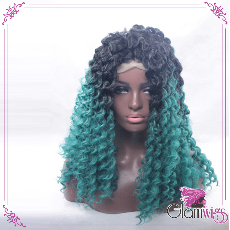 Most Popular In 2016 Ombre Blue Kinky Curly Hair Lace Wig Ombre Black To Blue Color Deep Curly Synthetic Hair Lace Front Wigs3