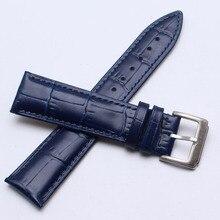 Высококачественный ремешок из крокодиловой кожи 18 мм 19 мм 20 мм 21 мм 22 мм темно-синие ремешки для часов fanshion для брендовых браслетов Новинка