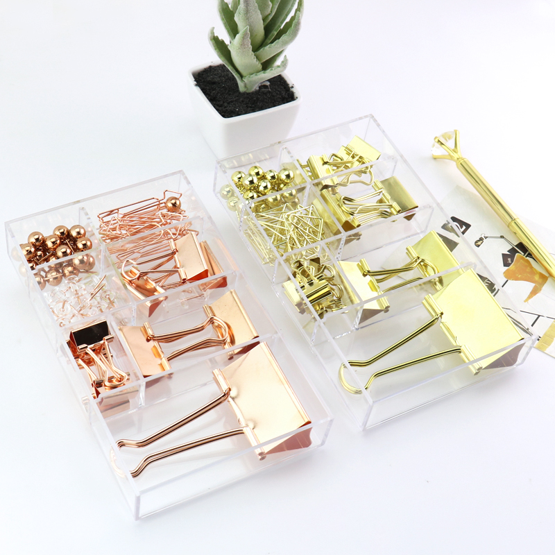 TUTU Free Shipping Binder Clips Push Pins Paper Clip Gold And Rose Gold Stationery Combination Set Pushpin Clip H0250