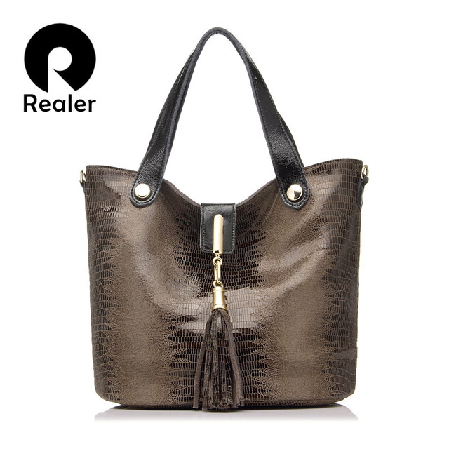REALER brand new genuine leather handbag women classic serpentine prints leather tote bag female tassel shoulder bags