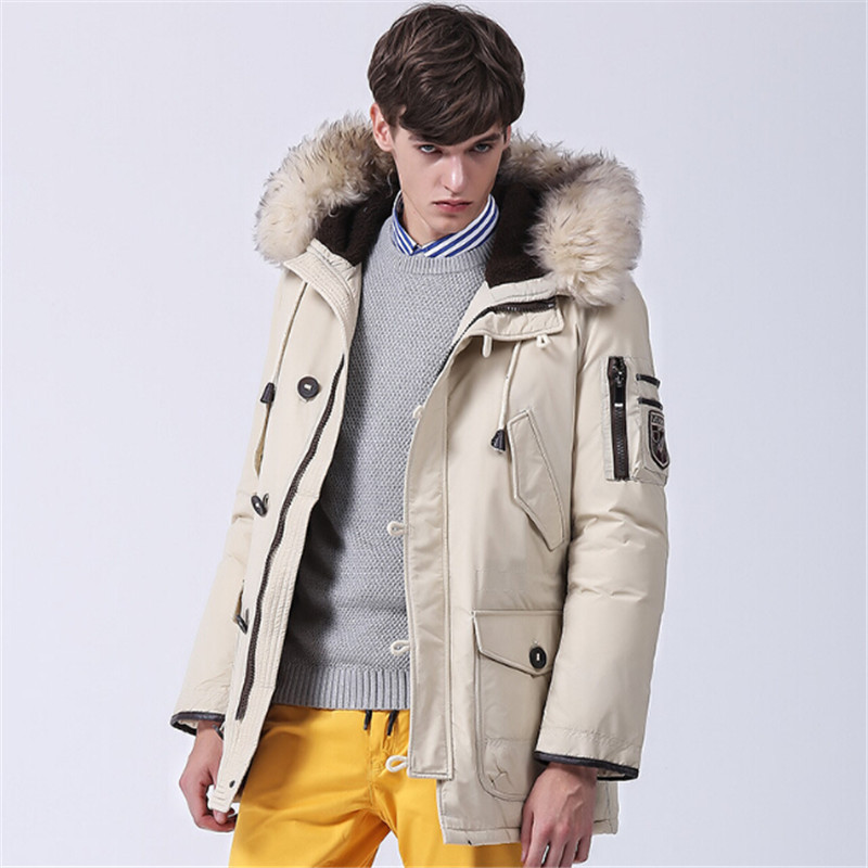 For the  men's jacket coat 2017 new men in the long winter fur collar men's hooded white down jacket 2017 winter new clothes to overcome the coat of women in the long reed rabbit hair fur fur coat fox raccoon fur collar