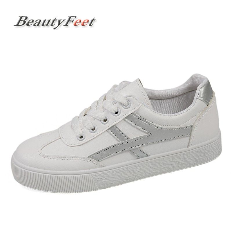 Fashion Sneakers Women Shoes Female Flats Comfortable PU Lace Up Student Casual Shoes White Vulcanize Shoes Woman BeautyFeet