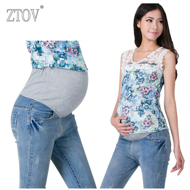 ZTOV Denim Maternity Jeans Plus size Elastic waist Long Trousers pants for Pregnant women Pregnancy clothes Pregnant Pants 8148# sexy women denim light blue skinny jeans crochet lace party female carve flower pants for women plus size s 3xl clothing k096