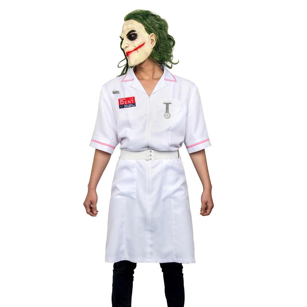 Image 2 - Takerlama Scary Movie Batman The Dark Knight Joker Nurse Dress Uniform Cosplay Costume Halloween Party Outfit  Props with Mask-in Movie & TV costumes from Novelty & Special Use
