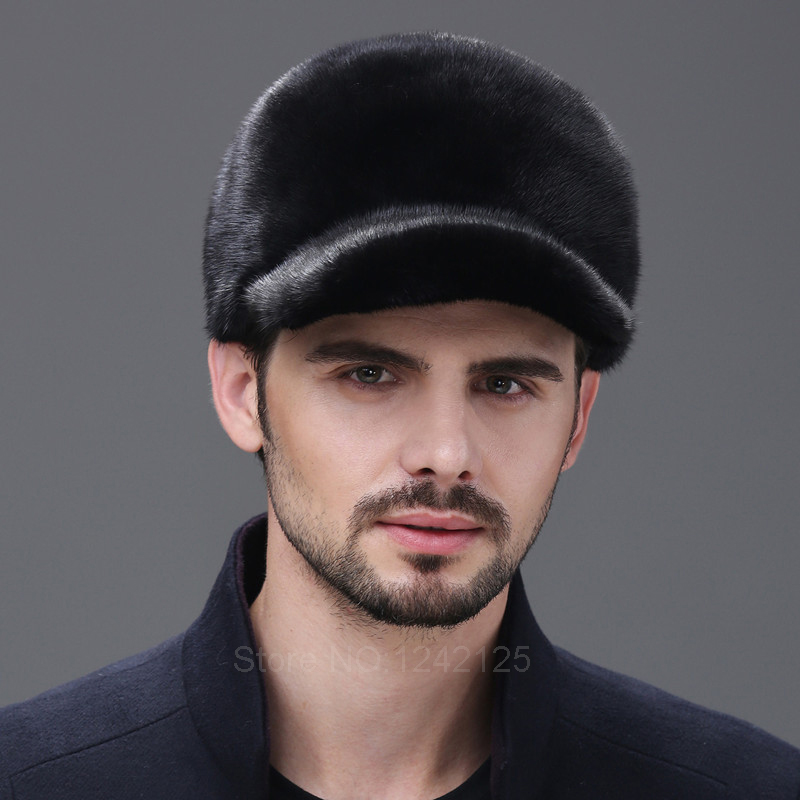 Winter Men women Mink fur baseball hat real whole mink hat male mink hair genuine leather fur hat male winter warm hats caps mink skullies beanies hats knitted hat women 5pcs lot 2299