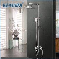 KEMAIDI 1SET Bath Shower Faucets Set Bathroom Mixer Shower Bathtub Taps Rainfall Shower Wall torneira Tap 8 Shower head