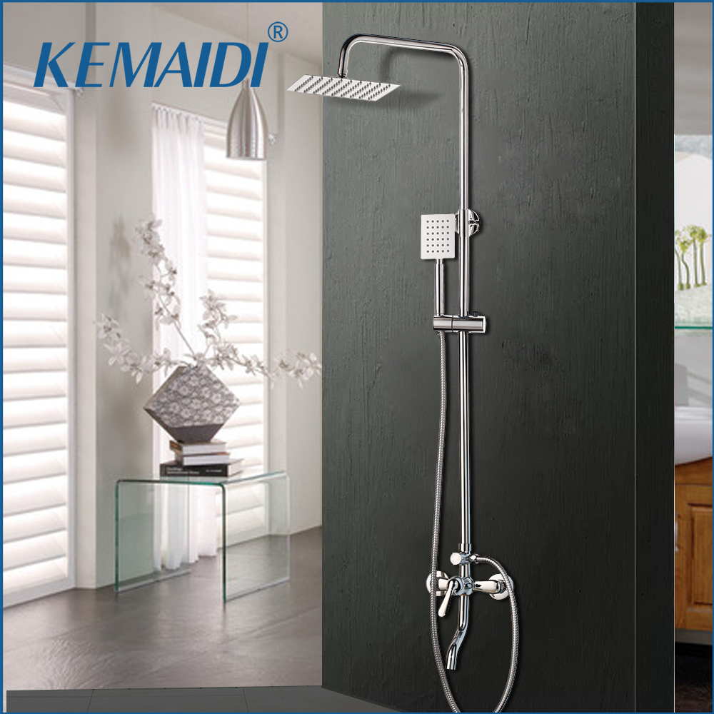 KEMAIDI 1SET Bath Shower Faucets Set Bathroom Mixer Shower Bathtub Taps Rainfall Shower Wall torneira Tap 8 Shower head
