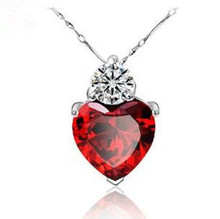 Free shipping 2014 new arrival hot sell red heart 925 sterling silver women necklaces fashion pendant jewelry wholesale price цена
