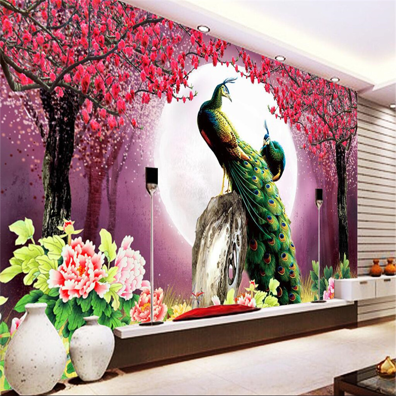 Custom 3d wallpaper living room modern peacock moon for Decor mural 3d