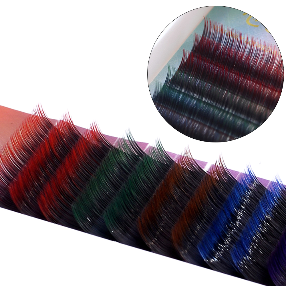 Clearance Individual Eyelash Extention Colorful Halloween False Eyelashes 8mm-12mm Mix Colored Natural Faux Wimper Handmade