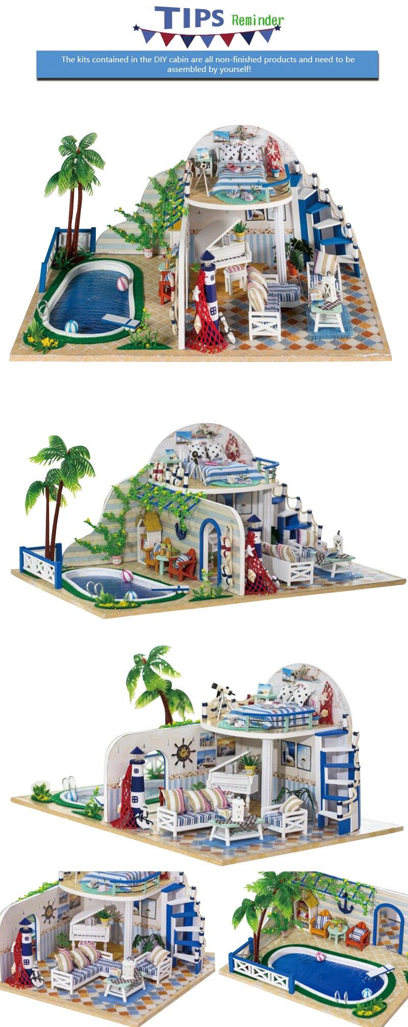 Dolls & Stuffed Toys Doll Houses Diy Miniature Dollhouse Room Kit Clear Summer Villas Little Prince Rose Blue Sea Legend Wooden Christmas Gift Toys For Children