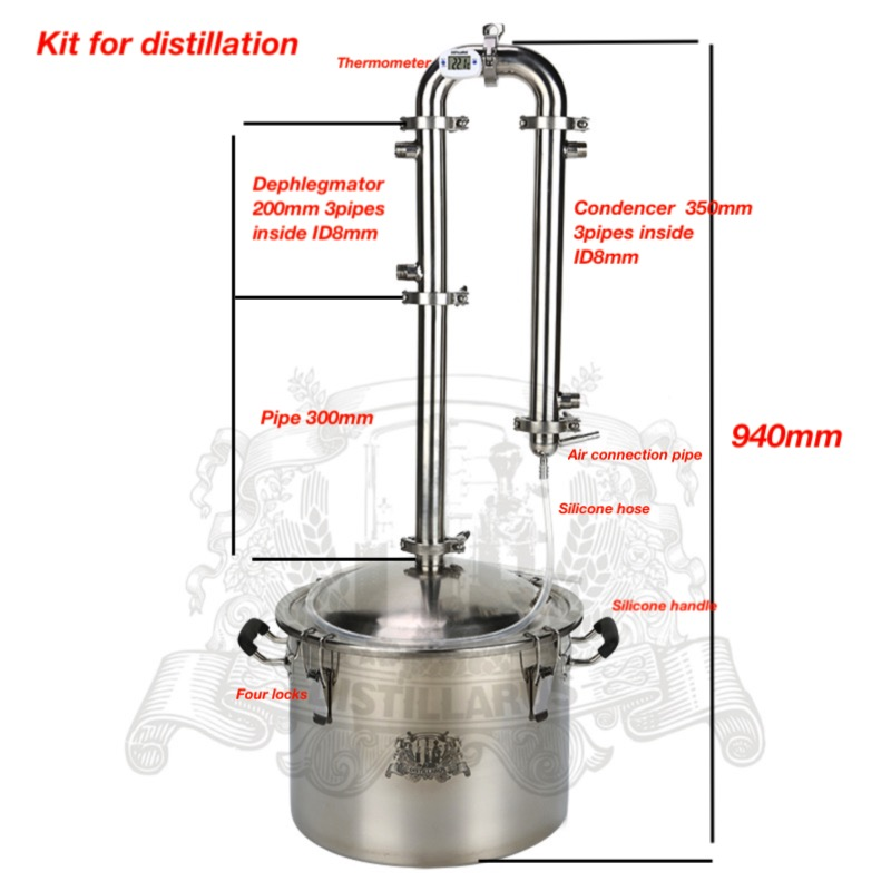 Home Brennerei Sanitär Stahl Ss304 Kit Für Destillation Moonshine Ausrüstung 25l Tank Und 1,5 spalte Für Destillation