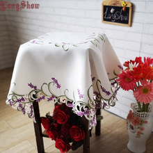 Creative Unique Dining Table Decoration 85cm Square Luxury Lavender Satin Fabric Cutwork Beige White Embroidered Tablecloth