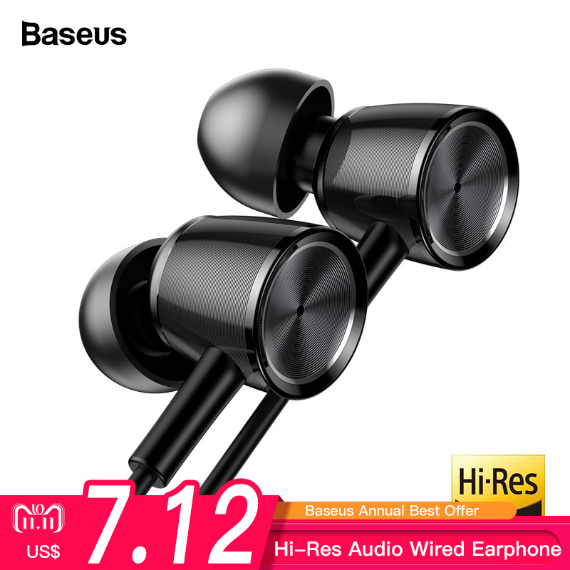 Baseus H07 Hi-Res Audio Wired Earphone Headset With Mic Metal In-Ear Earphone Stereo Bass Sound With 3.5mm Jack Earbuds kulakl k resong q5 stylish universal 3 5mm jack wired in ear bass headset w microphone black silver