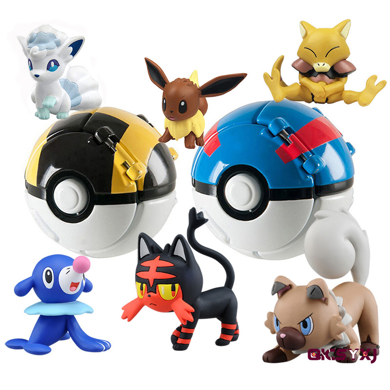 Pikachu Pokeboll + 1pcs Free Tiny Random Figures Inside Action Figures Toys Ball