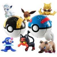 Pikachu Pokeboll + 1pcs Free Tiny Random Figures Inside Action Figures Toys Ball