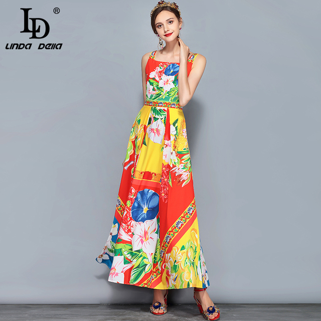 Runway Summer Maxi Dress Women's Sleeveless Gorgeous Floral Print Casual Holiday Long Dress