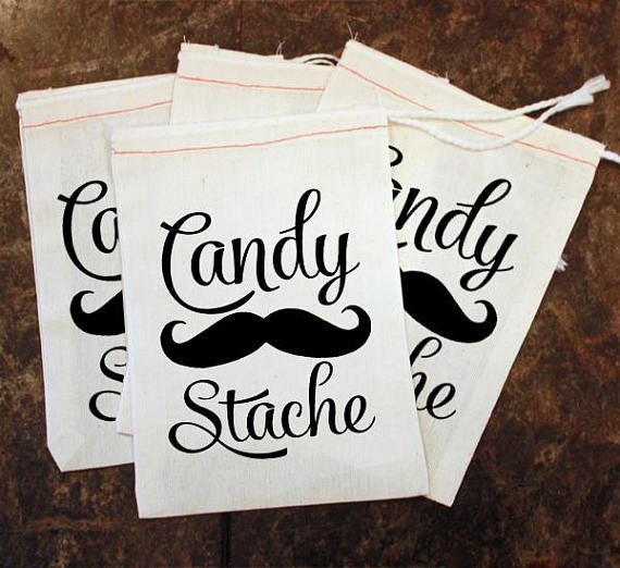 Custom Candy Stache Toddler birthday baby shower gift favor bags ...