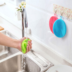Food Grade Silicone Round Shape Dish Washing Brush Washing Fruit Vegetable Multi-purpose Cleaning Dish washing Brush