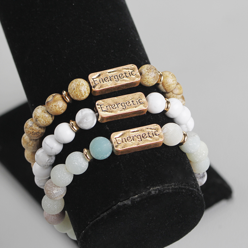 Vintage Beads Bracelet Women Men Natural Stone Beaded Bangles Bracelet Functional Powerful Energetic Active Inspiration Jewelry in Strand Bracelets from Jewelry Accessories