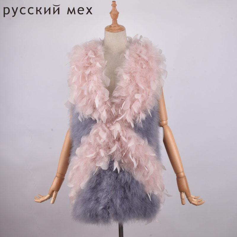 New Arrival Female top selling fashion Real Ostrich Fur Coat Women handmade nature Turkey fur jacket