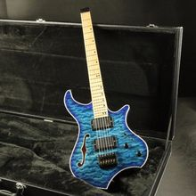 high end quality semi hollow body quilted maple top blue  headless electric guitar free shipping цены