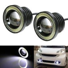 Car 1 Set 3.5 3.0 2.5 inch COB Angel Eyes Fog Lights Led Car Headlight Lamp DRL Universal Daytime running light 89mm 76mm 64mm eemrke cob angel eyes drl for toyota corolla fog lights h11 55w halogen bulbs led daytime running lights kits