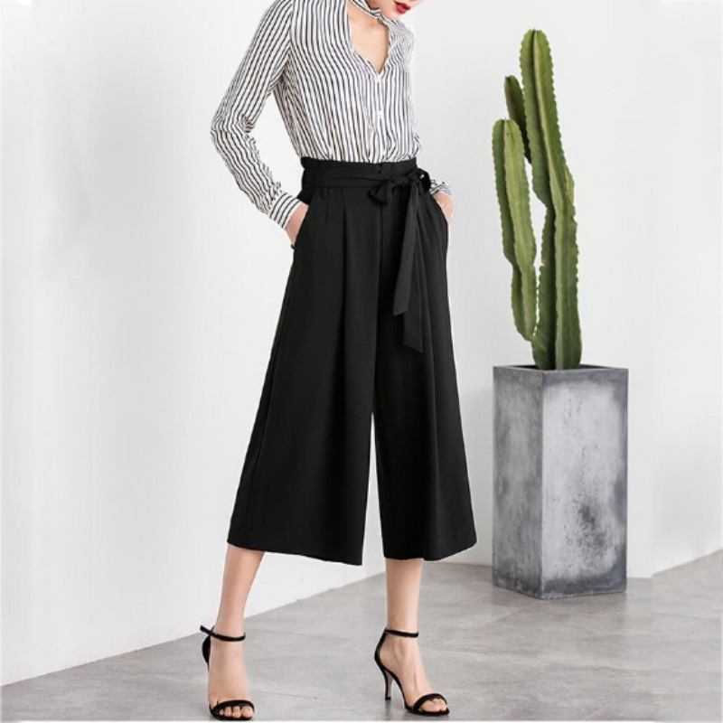 Summer Newest Style Leisure   Pants   Loose High Waist thin   wide     leg     pants   Solid Bow tie Bell Bottom   Pant   Women