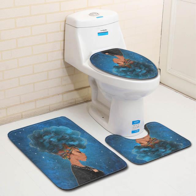 3pcs Bathroom Rug Sets Anti Slip Blue