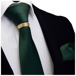 Image 2 - GUSLESON Yeni Tasarımcı Katı Düz Erkek Kravat Cep Kare Kravat Toka Seti Kırmızı Sarı Yeşil ipek kravatlar Takım Elbise Düğün Iş