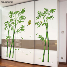[SHIJUEHEZI] Green Bamboo Plant Birds Pastoral Style Wall Sticker for Study Room Living Room Wardrobe Decoration Mural Art