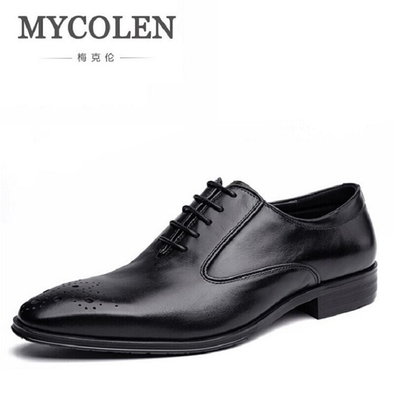 MYCOLEN Brand Formal Dress Men Shoes Genuine Leather Brogue Business Classic Office Wedding Mens Casual Oxford Italian Scarpe hot sale italian style men s flats shoes luxury brand business dress crocodile embossed genuine leather wedding oxford shoes