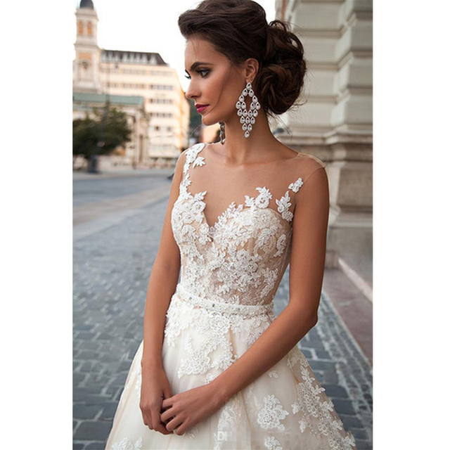 Scoop Illusion Wedding Dresses Long Lace Applique Beading Waist Sweep Train Bridal Gown Dress with Detachable Beading Sash 4