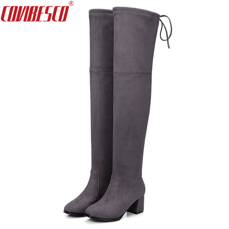 COVIBESCO Western Style Flock Shoes Women Boots Over The Knee Boots Winter Square High Heel Ladies Lace Up Fashion Size 34-43 superstar flock stretch boots runway fashion winter shoes med heel thigh high boots lace up bowtie women over the knee boots l15