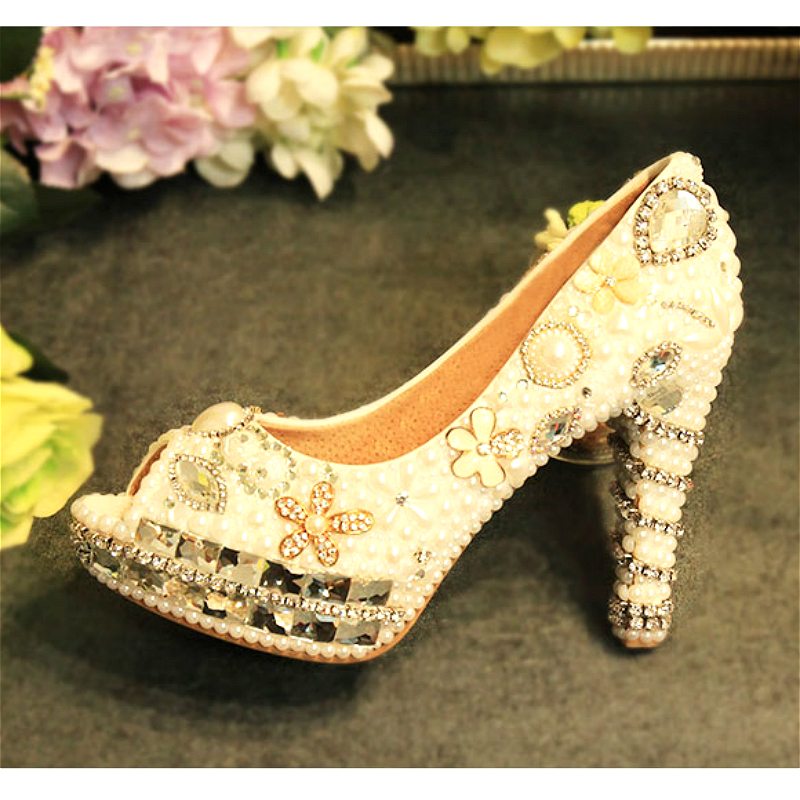 Womens Wedding White Pearl Flower Peep Toe Shoes Crystal Pumps Sexy Bride High Heels Female Rhinestone Party Shoe Big Size 43 aidocrystal plus size 35 43 sexy crystal peep toe wedding shoes rhinestone woman pumps open toe high heels