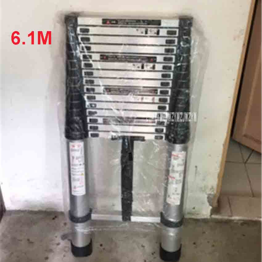 6.1M DLT-A Aluminum Alloy Thickened Extension Ladder 15-step Single-sided Straight Ladder Folding Engineering Ladder Hot Selling