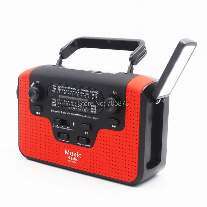 Multifuctional Dynamo FM/AM/SW1-SW4 (TF Card) <font><b>Radio</b></font> Hand Crank Solar <font><b>Radio</b></font> Bluetooth Speaker USB Phone Charger LED Flashlight image