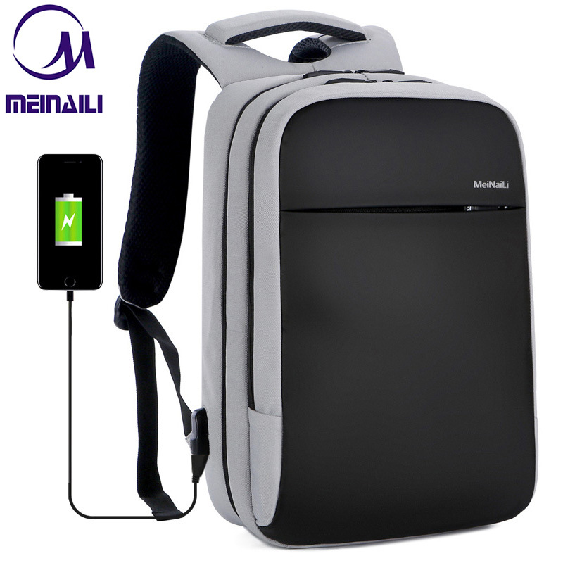 Mens 15.6 inch Laptop Business Backpacks Waterproof Male Travel Clothing Storage Bags Casual USB Charging Mens Back Pack Mochila