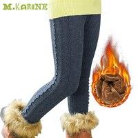 הגעה חדשה מכנסיים חמים בנות לפרוע חם קוריאני ילדים בייבי מוצק אלסטיים מותן סקיני חותלות חורף בתוספת קטיפה עבה Pantalones