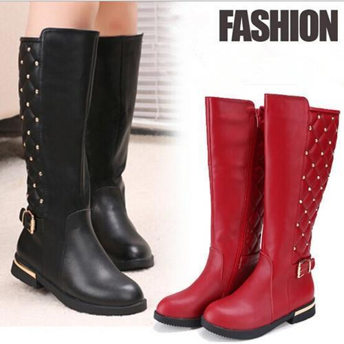 2016 Winter Kids Children Martin boots Tall Canister Genuine Leather And PU Rivets Girls Princess Knee Ankle Boots Warm Boats