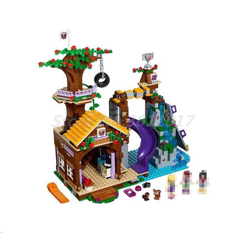BELA Building Block 10497 Friends Series Adventure Camp Tree House Emma Model Sets Educational Toy For Children Gifts 41122 diy bela 10497 adventure camp tree house model building kit compatible with legoingly city blocks educational toys for children