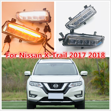 one set Turn Signal style 12V LED CAR DRL Daytime running lights  with fog lamp hole for Nissan X-trail X trail Xtrail 2017 2018 turn signal and dimming style relay car led drl daytime running fog lights accessories for honda crv 12 14 with fog lamp hole