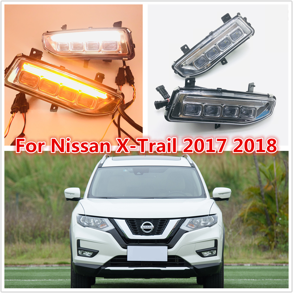 one set Turn Signal style 12V LED CAR DRL Daytime running lights with fog lamp hole for Nissan X trail X trail Xtrail 2017 2018