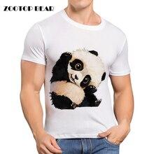 Cute Panda Мужчины майка Печатных Футболка С Коротким Рукавом Мода повседневная Harajuku Мужской О-Образным Вырезом Белый Смешно Скейт Cool Camisa ZOOTOP МЕДВЕДЬ