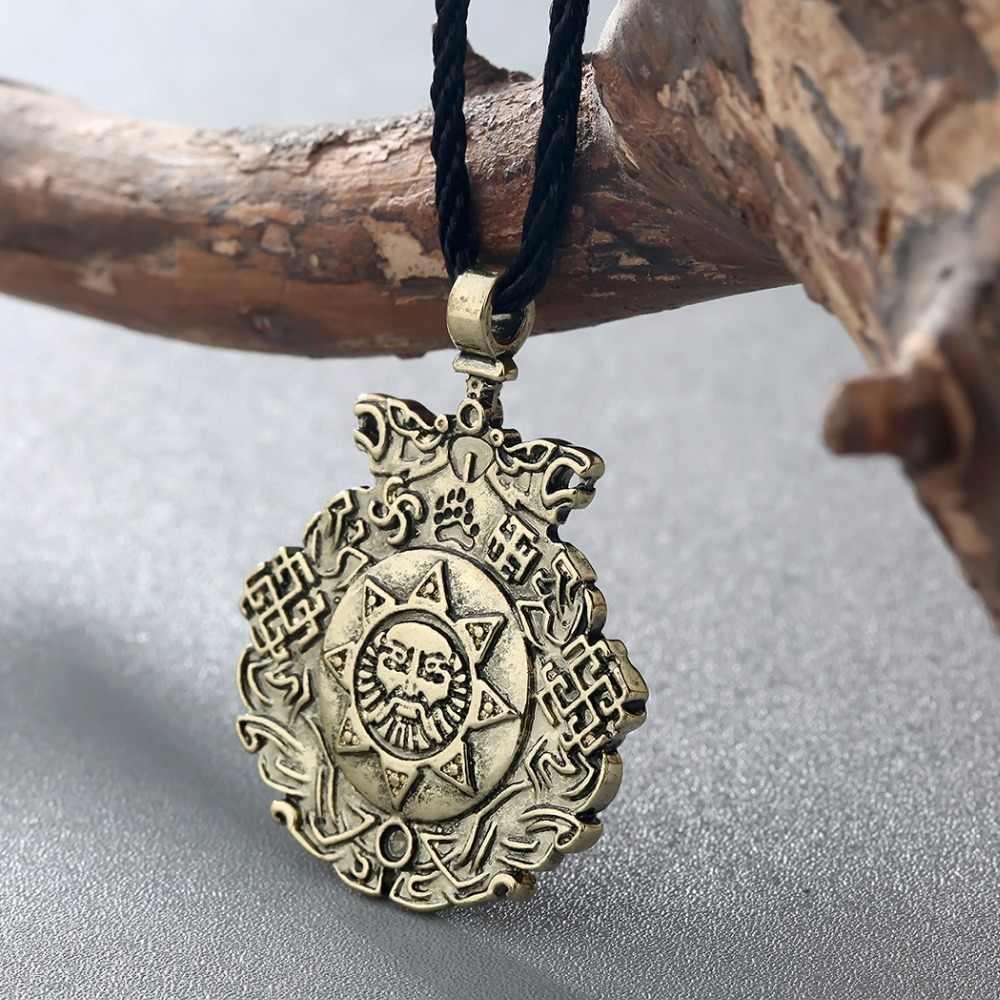 Qimingアンティークファッション卸売ジュエリーslavic夜の騎士ペンダントslavicお守り太陽ペンダント北欧バイキング用ネックレス