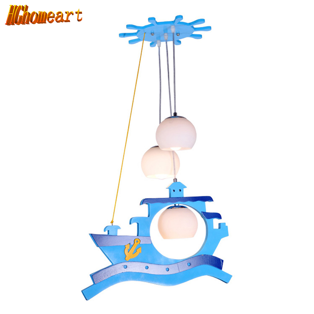Hghomeart Cartoon Children Bedroom Pendant Lights Cute 3 Lights Baby Room Led pendant lights Pendant Light Boy Room Hanging Lamp led suction dome light fashion cartoon study bedroom children s room lights