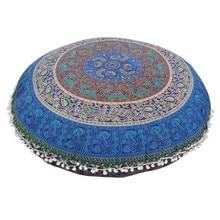Nuevo 80*80 CM estilo Indio Gran Mandala cubierta Almohadas Piso Ronda diseño de Bohemia gran cojín casos suelo decoración textil en venta
