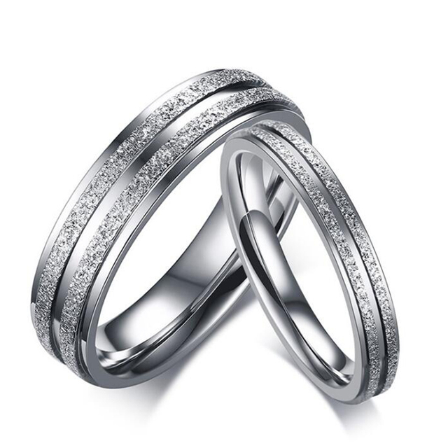 Silver Color Stainless Steel Couple Ring for Women / Men Double Row Frosted Ring
