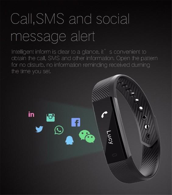 ID115 Smart Bracelet Fitness Tracker Smartband Pedometer Sleep Monitor Sports Wristband Alarm Clock for IOS Android PK fit bit
